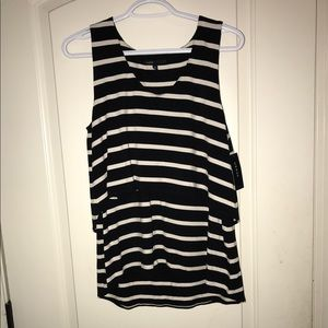 Chaus Black & White Striped Pullover Layered Tank